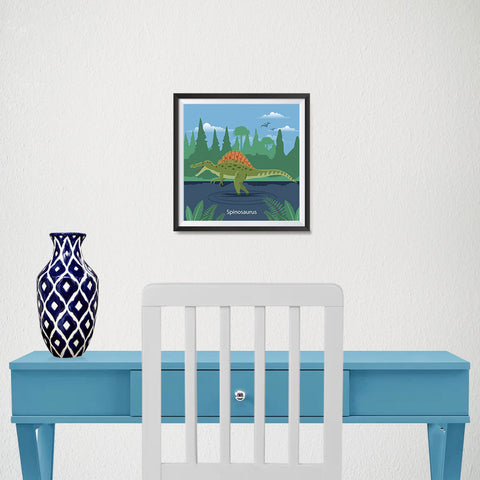 Ezposterprints - Spinosaurus - Prehistoric Animals, Dinosaur Illustrations Series - 10x10 ambiance display photo sample