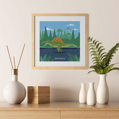 Ezposterprints - Spinosaurus - Prehistoric Animals, Dinosaur Illustrations Series - 12x12 ambiance display photo sample