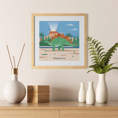 Ezposterprints - Stegosaurus - Prehistoric Animals, Dinosaur Illustrations Series - 12x12 ambiance display photo sample