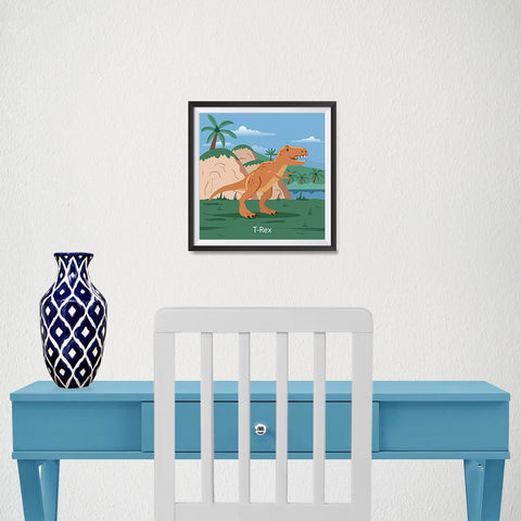 Ezposterprints - T-Rex - Prehistoric Animals, Dinosaur Illustrations Series - 10x10 ambiance display photo sample
