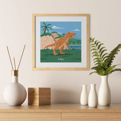 Ezposterprints - T-Rex - Prehistoric Animals, Dinosaur Illustrations Series - 12x12 ambiance display photo sample