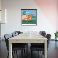 Ezposterprints - T-Rex - Prehistoric Animals, Dinosaur Illustrations Series - 32x32 ambiance display photo sample