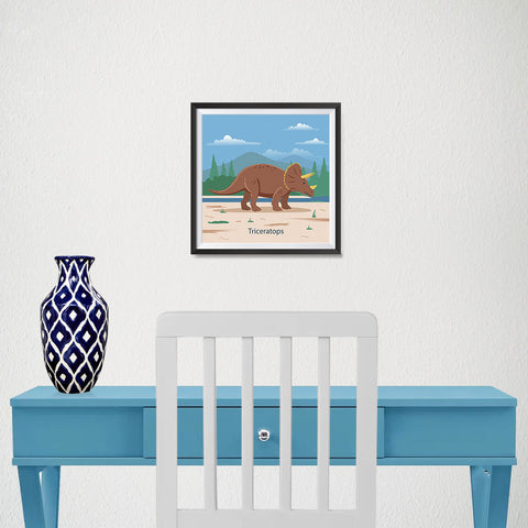 Ezposterprints - Triceratops - Prehistoric Animals, Dinosaur Illustrations Series - 10x10 ambiance display photo sample
