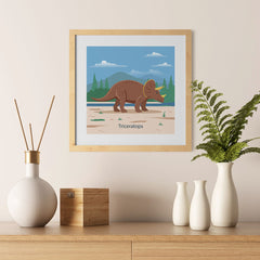 Ezposterprints - Triceratops - Prehistoric Animals, Dinosaur Illustrations Series - 12x12 ambiance display photo sample