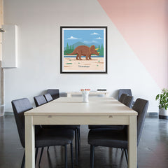 Ezposterprints - Triceratops - Prehistoric Animals, Dinosaur Illustrations Series - 32x32 ambiance display photo sample