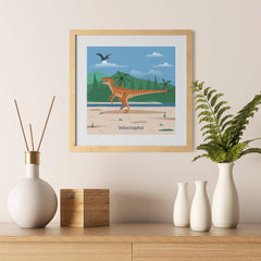 Ezposterprints - Velociraptor - Prehistoric Animals, Dinosaur Illustrations Series - 12x12 ambiance display photo sample