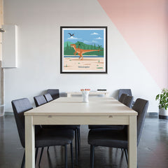 Ezposterprints - Velociraptor - Prehistoric Animals, Dinosaur Illustrations Series - 32x32 ambiance display photo sample