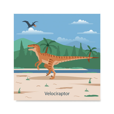 Ezposterprints - Velociraptor - Prehistoric Animals, Dinosaur Illustrations Series