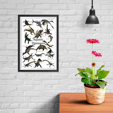Ezposterprints - Aquatic Dinosaurs - The World's Dinosaur Families Posters Collection - 08x12 ambiance display photo sample