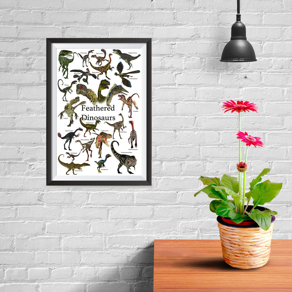 Ezposterprints - Feathered Dinosaurs - The World's Dinosaur Families Posters Collection - 08x12 ambiance display photo sample