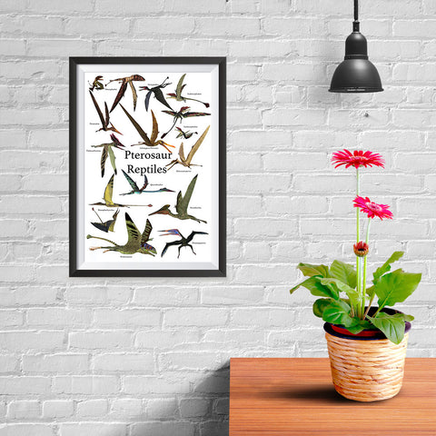 Ezposterprints - Pterosaur Reptiles Dinosaurs - The World's Dinosaur Families Posters Collection - 08x12 ambiance display photo sample