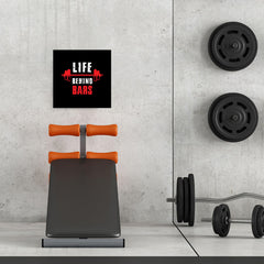 Ezposterprints - Life Behind Bars | GYM Motivation Quotes - 16x16 ambiance display photo sample