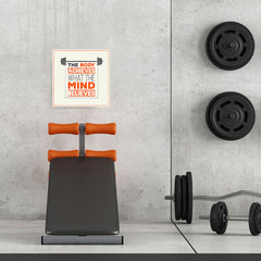Ezposterprints - The Body Achieves What The Mind Believes | GYM Motivation Quotes - 16x16 ambiance display photo sample