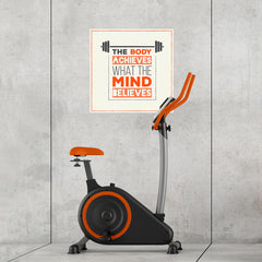 Ezposterprints - The Body Achieves What The Mind Believes | GYM Motivation Quotes - 24x24 ambiance display photo sample