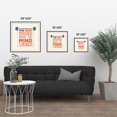 Ezposterprints - The Body Achieves What The Mind Believes | GYM Motivation Quotes ambiance display photo sample