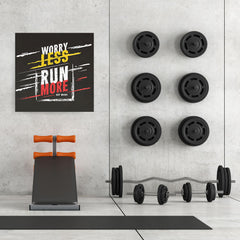 Ezposterprints - Worry Less Run More, Keep Moving | GYM Motivation Quotes - 32x32 ambiance display photo sample