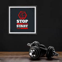Ezposterprints - Stop Wishing Start Doing | GYM Motivation Quotes - 10x10 ambiance display photo sample