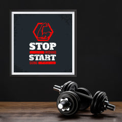Ezposterprints - Stop Wishing Start Doing | GYM Motivation Quotes - 12x12 ambiance display photo sample