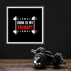 Ezposterprints - Iron is My Therapy | GYM Motivation Quotes - 12x12 ambiance display photo sample