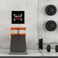 Ezposterprints - Iron is My Therapy | GYM Motivation Quotes - 16x16 ambiance display photo sample