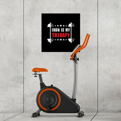 Ezposterprints - Iron is My Therapy | GYM Motivation Quotes - 24x24 ambiance display photo sample