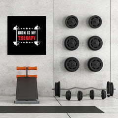 Ezposterprints - Iron is My Therapy | GYM Motivation Quotes - 32x32 ambiance display photo sample