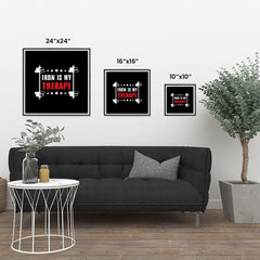 Ezposterprints - Iron is My Therapy | GYM Motivation Quotes ambiance display photo sample