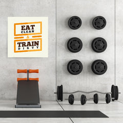 Ezposterprints - Eat Clean Train Dirty | GYM Motivation Quotes - 32x32 ambiance display photo sample