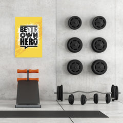 Ezposterprints - Be Your Own Hero | Gym Inspiration Motivation Quotes - 24x36 ambiance display photo sample