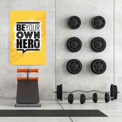 Ezposterprints - Be Your Own Hero | Gym Inspiration Motivation Quotes - 32x48 ambiance display photo sample