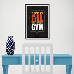 Ezposterprints - Live It | Gym Inspiration Motivation Quotes - 12x18 ambiance display photo sample