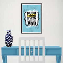 Ezposterprints - Push Yourself | Gym Inspiration Motivation Quotes - 12x18 ambiance display photo sample