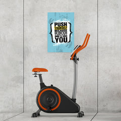 Ezposterprints - Push Yourself | Gym Inspiration Motivation Quotes - 16x24 ambiance display photo sample