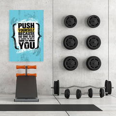 Ezposterprints - Push Yourself | Gym Inspiration Motivation Quotes - 32x48 ambiance display photo sample