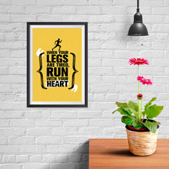 Ezposterprints - Run With Heart | Gym Inspiration Motivation Quotes - 08x12 ambiance display photo sample