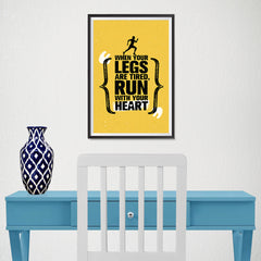 Ezposterprints - Run With Heart | Gym Inspiration Motivation Quotes - 12x18 ambiance display photo sample
