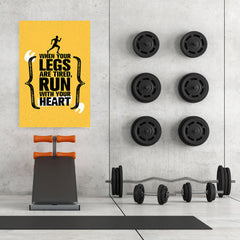 Ezposterprints - Run With Heart | Gym Inspiration Motivation Quotes - 32x48 ambiance display photo sample