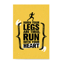 Ezposterprints - Run With Heart | Gym Inspiration Motivation Quotes