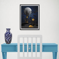 Ezposterprints - Dark Castle and Bad Pumpkins Halloween Poster - 12x16 ambiance display photo sample