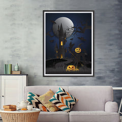 Ezposterprints - Dark Castle and Bad Pumpkins Halloween Poster - 36x48 ambiance display photo sample