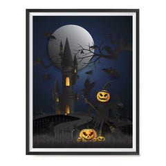 Ezposterprints - Dark Castle and Bad Pumpkins Halloween Poster ambiance display photo sample