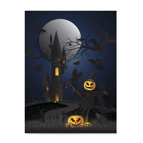 Ezposterprints - Dark Castle and Bad Pumpkins Halloween Poster
