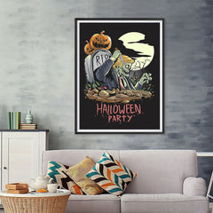 Ezposterprints - Very Very Scary Party Halloween Poster - 36x48 ambiance display photo sample