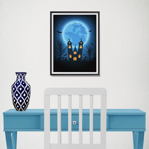 Ezposterprints - Under the Blue Moon Halloween Poster - 12x16 ambiance display photo sample