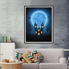 Ezposterprints - Under the Blue Moon Halloween Poster - 36x48 ambiance display photo sample