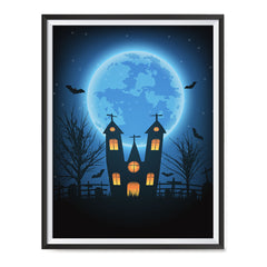 Ezposterprints - Under the Blue Moon Halloween Poster ambiance display photo sample