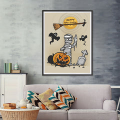 Ezposterprints - Mummy and the Broom Halloween Poster - 36x48 ambiance display photo sample