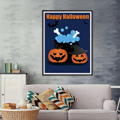 Ezposterprints - Happy Pumpkin Witches Halloween Poster - 36x48 ambiance display photo sample