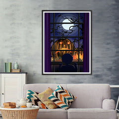 Ezposterprints - Sad Pumpkins Out There Halloween Poster - 36x48 ambiance display photo sample
