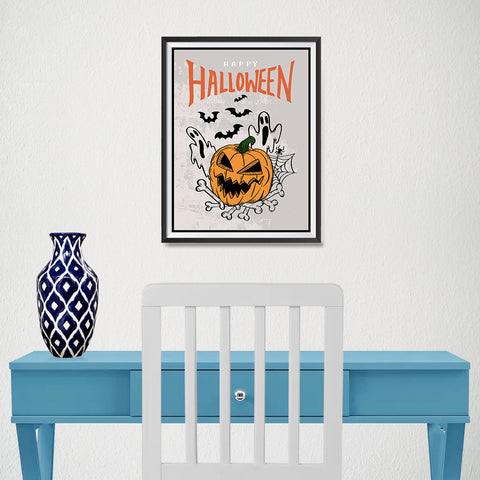 Ezposterprints - The Ghosts and The Bad Boss Pumpkin Halloween Poster - 12x16 ambiance display photo sample